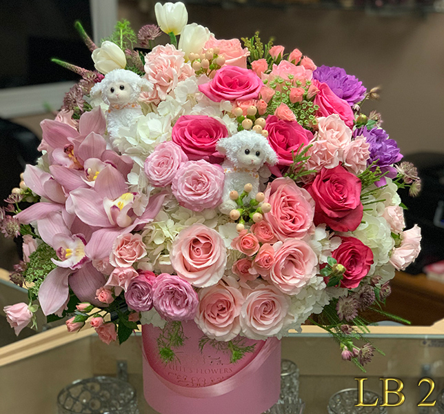 New baby Glendale Flower Delivery - pink, white and purple flowers 													Make sure to share with us your arrangement.                                                     https://goo.gl/maps/Jgj1JeCetJv -  funeral spray flowers - Glendale  Sympathy flowers Florist funeral spray