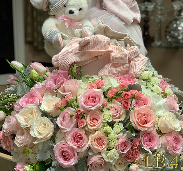new baby girl flowers  https://goo.gl/maps/Jgj1JeCetJv - pink carnations and red roses - Glendale Florist Funeral Spray for Forest Lawn Glendale