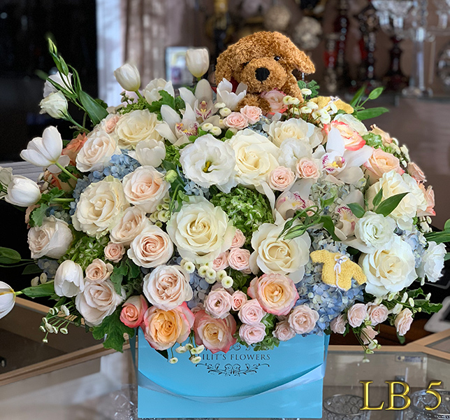 New baby boy arrangement Make sure to share with us your arrangement.  https://goo.gl/maps/Jgj1JeCetJv - pink carnations and red roses - Glendale Florist Funeral heart for Forest Lawn Hollywood Hills, Burbanks